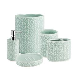 Lend a serene natural feel to your bathroom decor with the Botanical Bath Ensemble. Each piece's intricately stamped ceramic exterior is enhanced by a shiny glazed finish. Perfect to elevate the look of your guest or master bath. Green Bathroom Decor, Bathroom Ideas, Bathroom Soap Dispenser, Stone Bath, Green Bedding, Bathroom Accessories Sets, Bedding Shop, Master Bath, Cleaning Wipes