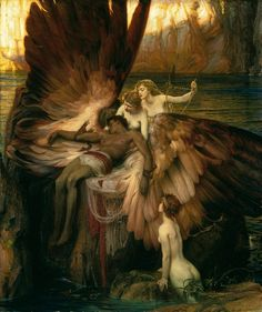 Herbert Draper, The lament for Icarus, exhibited 1898, oil paint on canvas, 182.9 × 155.6 cm. Tate: Presented by the Trustees of the Chantrey Bequest 1898. Image © Tate, London 2016