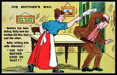 Vintage 1920s Comic Postcard women's rights Vote Suffragettes His mother's way