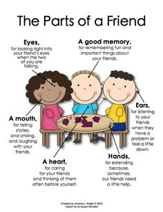 Poster: The Parts of a Friend ... This set includes readers, writers, scientists, mathematicians, friends, and teachers. Both boys and girls are represented, including varying skin tones. $
