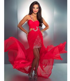 Mac Duggal Prom 2013- Cherry Chiffon One Shoulder With Embellishments - Unique Vintage - Cocktail, Pinup, Holiday & Prom Dresses.