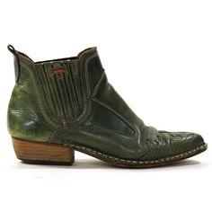 Green Leather Chelsea Boots / Shortie Cowboy by SpunkVintage, $78.00