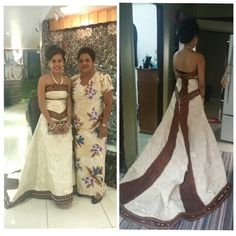 Modern tradition material Fijian wedding dress
