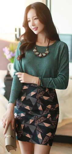 StyleOnme_Geometric Patterned Pencil Skirt #green #geometric #abstract…