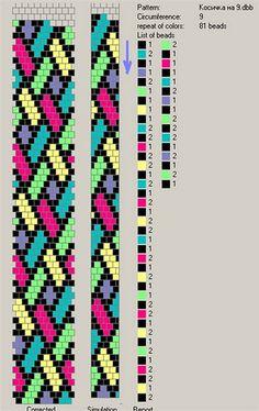 9 around - 81 pattern. Free pattern for beaded crochet rope Mallow Crochet Bracelet Pattern, Bead Crochet Patterns, Beading Patterns Free, Bead Crochet Rope, Seed Bead Patterns, Beaded Bracelet Patterns, Beaded Crochet, Free Pattern, Crochet Beaded Bracelets