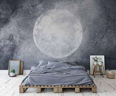 Moon Wallpaper Temporary Wallpaper Textured Vinyl Wallpaper