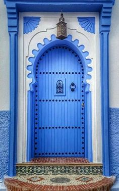 Chefchaouen, Morocco - colorful blue and white door and entrance Door Entryway, Entrance Doors, Doorway, Cool Doors, Unique Doors, Door Knockers, Door Knobs, When One Door Closes, Door Gate