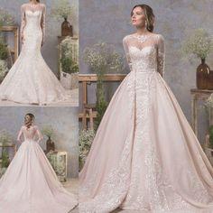 Wedding Dresses Detachable Train Long Sleeves Mermaid Bridal Ball Gowns Custom | eBay Detachable Wedding Dress, Sheer Wedding Dress, Classic Wedding Dress, Modest Wedding Dresses, Bridal Dresses, Wedding Veil, Mermaid Wedding, Wedding Gowns, Dubai Wedding