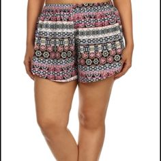 CLEARANCE! Printed shorts Super cute, fun & flirty printed plus size shorts. High waisted, 100% polyester. Brand new with tags. Price firm. Available in 1X, 2X & 3X! 15% discount on bundles. No PayPal or trades. boutique Shorts