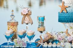 Beach Themed Wedding Dessert Buffet designed by Debbie Kennedy Events & Design. www.debbiekennedyevents.com https://www.facebook.com/DebbieKennedyEvents Featured in Arizona's Finest Wedding Sites & Services.  www.finestweddingsites.com Photography: Cwlife Photography www.cwlifephotography.com