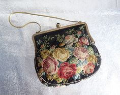 Vintage Victorian Petit Point Floral Purse - Antique Handbag - Black Enamel Bead Clasp - Gold Chain - Made in Vienna