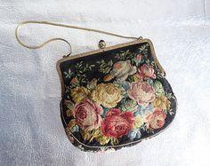 Vintage Victorian Petit Point Floral Purse - Antique Handbag - Black Enamel Bead Clasp - Gold Chain - Made in Vienna