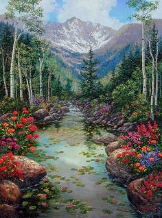 """Painting: """"Aspen Poppies Delight"""" (original art by Schaefer / Miles) - Art Painting Beautiful Paintings, Beautiful Landscapes, Landscape Art, Landscape Paintings, Bob Ross Paintings, Image Nature, West Art, Nature Paintings, Pictures To Paint"""