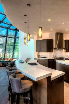 Amazing modern kitchen with outdoors inside feeling. Park City, Utah.