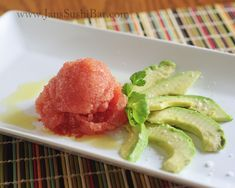 Savory Tomato Sorbet - refreshing and intensely flavored, this is like a spicy, frozen guacamole!