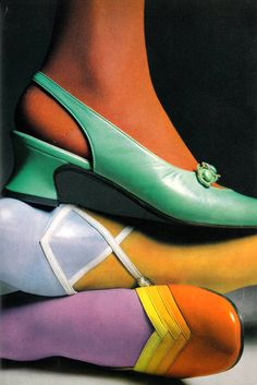 Shoe fashions photographed by Julian Cottrell for Vogue UK, 1968. S)