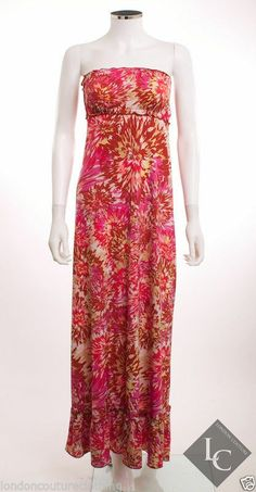 HALO GATHERED TOP & BOTTOM MULTI-COLOR FLORAL PRINT SLINKY KNIT MAXI DRESS SZ  S