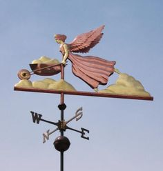 Angel Weathervane In Cloud Garden  by West Coast Weather Vanes.  For the avid gardener who likes our garden themed weathervane designs.