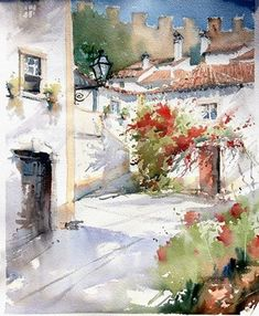 Watercolor Painting Techniques, Watercolor Landscape Paintings, Watercolor Artists, Gouache Painting, Watercolor City, Watercolor And Ink, Urban Sketching, Art Pictures, Creative Art