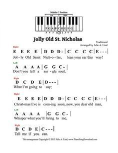 Jolly Old St Nicholas pre-staff with letters. A great Christmas carol for those who cannot read notes on the staff. Jolly Old St Nicholas pre-staff with letters. A great Christmas carol for those who cannot read notes on the staff. Christmas Piano Sheet Music, Piano Sheet Music Letters, Flute Sheet Music, Piano Music Notes, Piano Songs For Beginners, Beginner Piano Music, Easy Piano Sheet Music, Music Sheets, Kalimba