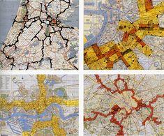 """Cartografia """"New Babylon"""", Nueva Babilonia 1963 manifiesto situacionista. Homoludens en l'espacio, referente propio."""