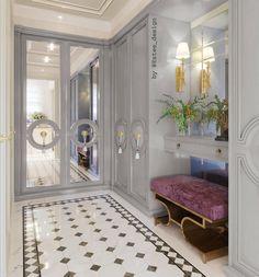 Luxury Walk In Closet and Dressing Room Classic Interior, Home Interior, Interior Design, Floor Design, House Design, Beautiful Closets, Closet Designs, Hallway Decorating, Home Hacks