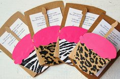 Animal Print Invitation Cupcake Invitation Zebra Print Cheeta Print Teenage Girl Custom Kids Birthday Invite Girls Invitation - Set of 10