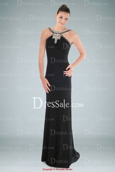 Fine Jewel Neckline Sheath Evening Dress Featuring Crystals and Open Back