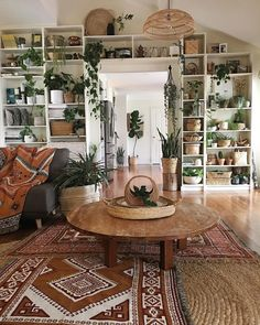 Living Room Ceiling Lighting Sofa Medium Hardwood Floor Sectional and Coffee Tables Jaye Workman creates a rustic space with vintage finds Living Room Lighting, Living Room Decor, Living Room Stairs, Living Room With Plants, Living Room Bookshelves, Living Room Hardwood Floors, Living Room Sectional, Sectional Sofa, Aesthetic Room Decor