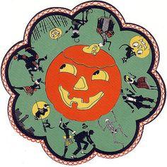 Vintage Halloween Ephemera ~ Jack O' Lantern Table Mat