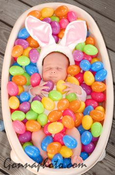 Cute easter baby photo idea