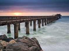 size: Photographic Print: Swakopmund Pier at Sunset, Namibia by Frances Gallogly : Land Of The Brave, Namibia, Tv Wall Decor, West Africa, South Africa, Atlantic Ocean, Continents, The Good Place, Beautiful Places