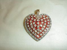 vintage nolan miller red crystal heart by qualityvintagejewels