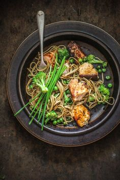Sticky asian salmon with soba noodles and greens