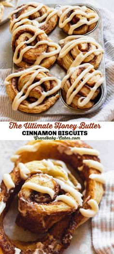 These perfect Cinnamon Roll Biscuits combine flaky, buttery biscuit dough with a spiced cinnamon butter and an irresistible honey butter cream cheese glaze.#cinnamonrolls #honeybutter #honey #cinnamon #biscuits Buttery Biscuits, Cinnamon Biscuits, Cinnamon Butter, Honey Butter, Cinnamon Rolls, Easy No Bake Desserts, Köstliche Desserts, Delicious Desserts, Dessert Recipes