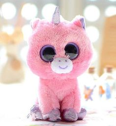 New 2013 Ty Beanie Boos Boo Character Pink Unicorn Soft Plush Toy Doll 6'' VH48