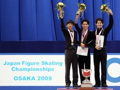 Daisuke Takahashi Photos Photos - (L to R) 2nd place winner Nobunari Oda, winner Daisuke Takahashi and 3rd place winner Takahiko Kozuka pose on the podium after competing in the Men Free Skating during day two of the 78th All Japan Figure Skating Championship at Namihaya Dome on December 26, 2009 in Osaka, Japan. - All Japan Figure Skating Championship - Day 2