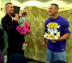 Randy Orton, daughter, and John Cena