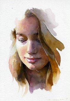 by Artist Stan Miller watercolor - 11 x 7 Watercolor Portrait Painting, Watercolor Face, Watercolor Artists, Watercolor Painting Techniques, Painting & Drawing, Watercolor Trees, Painting Tutorials, Watercolor Landscape, Watercolor Pencils