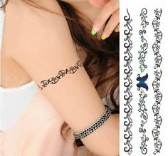 Arm Beautiful Lace Bracelet Style Tattoo Temporary Sticker Set for ...