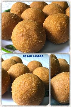 laddu is a popular Indian sweet dish made of (chickpea flour or gram flour), sugar and ghee. Gram Flour, Indian Sweets, Dessert Recipes, Desserts, Cornbread, Good Food, Sugar, Celebrations, Homemade