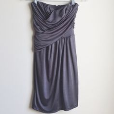 Express strapless dress gunmetal gray XS 0 2 Strapless Express dress with pretty weaving detail at chest.  Perfect length.  Semi shiny, super comfortable!  Flattering fit!  Size XS. Express Dresses Strapless