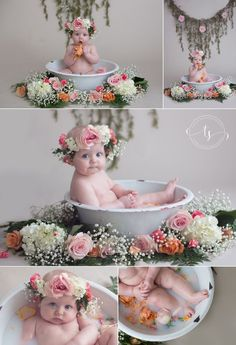 New Ideas For New Born Baby Photography : Milk Bath Baby Session | Floral Milk Bath Session | 6 Month Milk Bath Session | … – Photography Magazine | Leading Photography Magazine, bring you the best photography from around the world