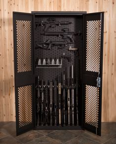 Our secure weapons storage cabinets, gun lockers and walk-in weapons storage containers are fabricated per order with customized options for your gun and accessory racks. Ideally used by Military, Police Department, Law Enforcement Armories or Private gun Hidden Gun Cabinets, Storage Cabinets, Weapons Guns, Guns And Ammo, Tactical Wall, Tactical Gear, Weapon Storage, Hidden Gun Storage, Ammo Storage