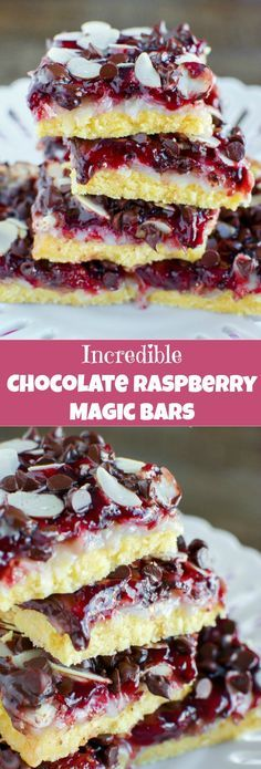 Seriously. INCREDIBLE Chocolate Raspberry Magic Bars!: