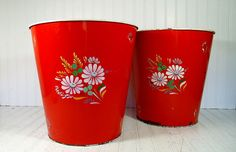 Retro Ransburg Red OverSized Metal Waste Cans Pair - Vintage Hand Painted Kitchen Bouquet Design Extra Large BoHo Bins Duo - Set of 2 Pieces