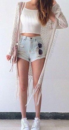 #summer #fashion / knit crop top + denim