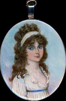 Ruby Lane: retrato miniatura de alrededor de 1800.