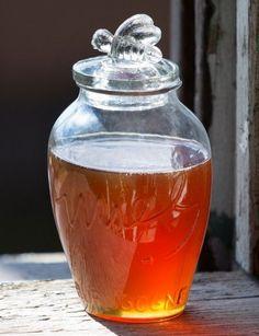 """Glass Honey Jar, 7"""" tall"""