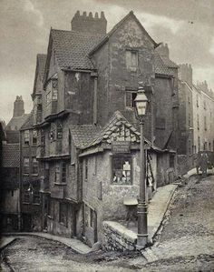 At the juncture of Steep Street and Trenchard Street, Bristol, 1866.